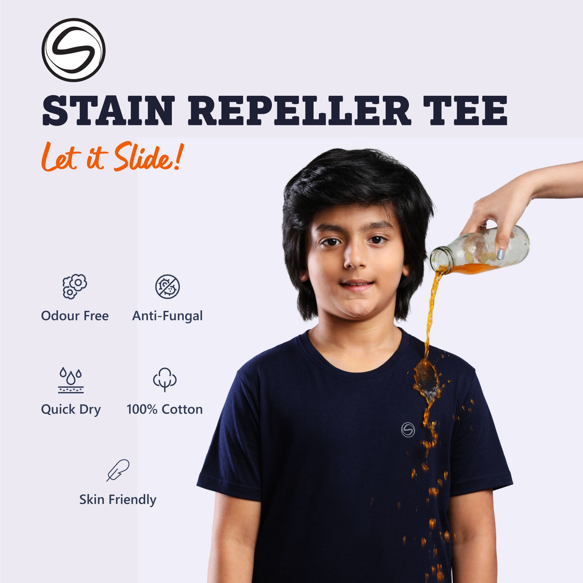Stain Repeller Solid Navy Blue Tee