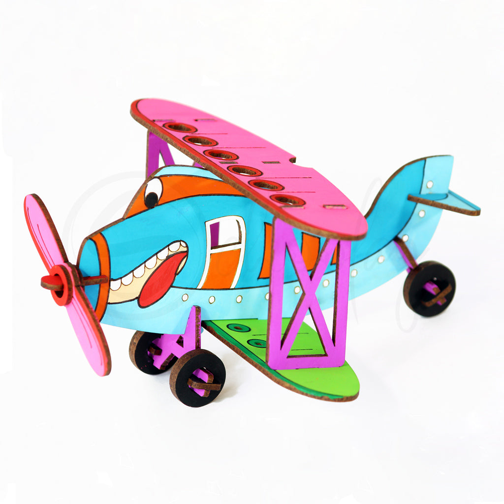Do It Yourself 3D Puzzle Bi-Plane + Desk Organizer + Coloring Model + Working Toy (4 Yrs & Above)