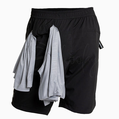 Multipurpose Utility Shorts With Attached Sanitizer Holder & T-shirt Holder - Black