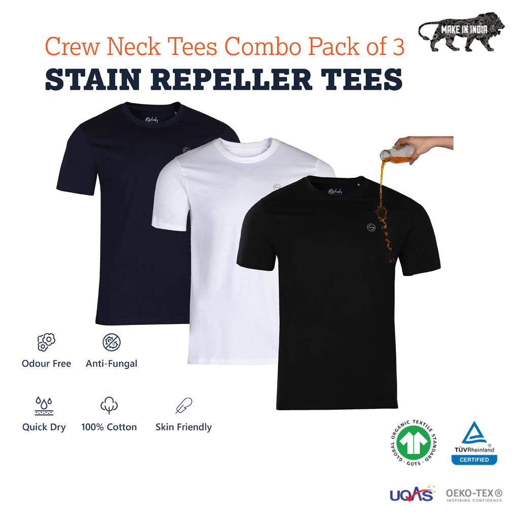 Pack of 3 Zero Stain Crew Neck 100% Premium Cotton T-shirts (White, Black & Navy)