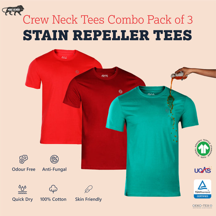 Pack of 3 Zero Stain Crew Neck 100% Premium Cotton T-shirts (Maroon, Salmon Red & Green)