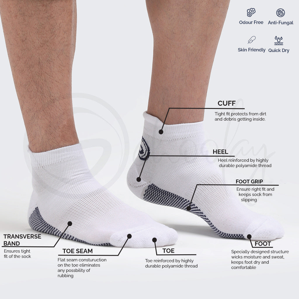 Anti-Fungal Sports Socks White (Teen)