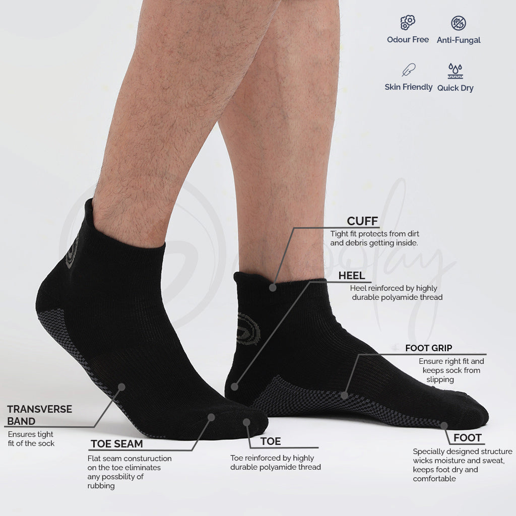 Anti-Fungal Sports Socks Black (Teen socks)