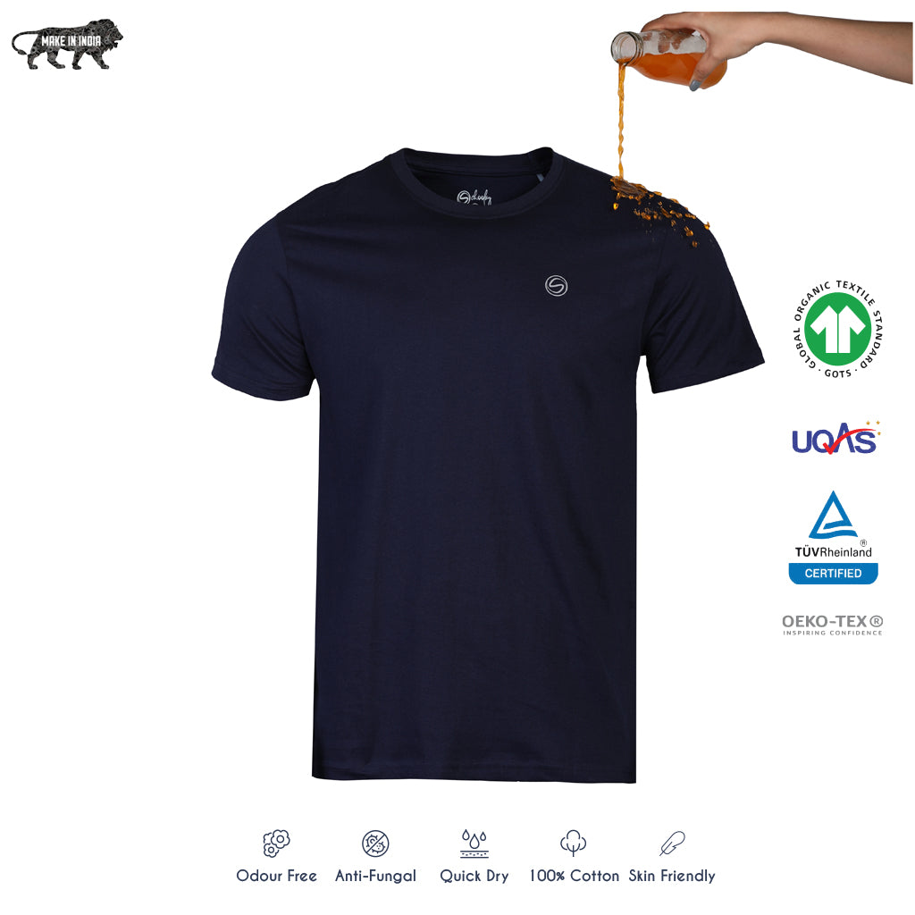 Solid Navy Crew Neck Zero Stain 100% Premium Cotton T-shirt