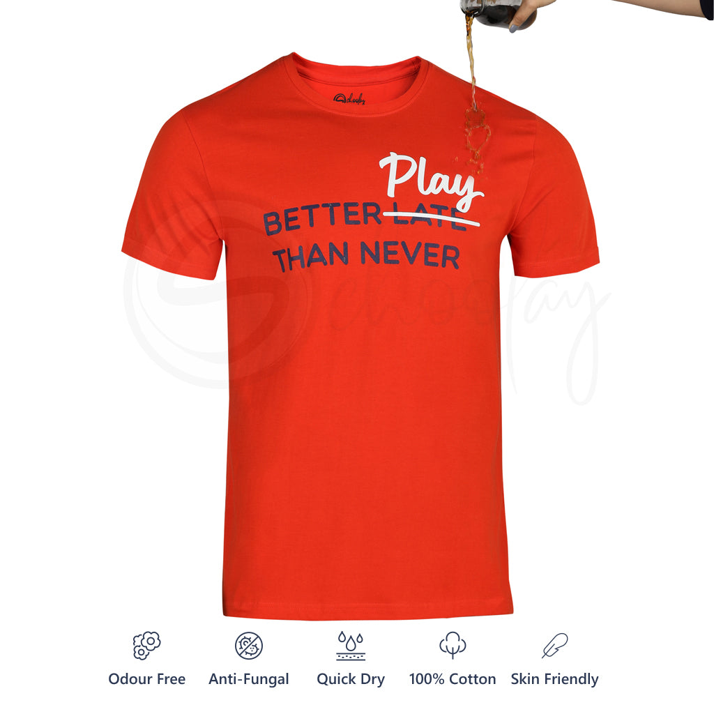 Pack of 2 Stain Repellent Printed T-shirts - White Play Outside & Red Better Play Than Never
