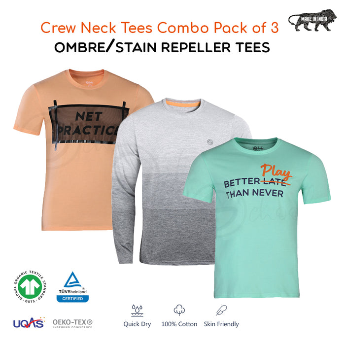 Pack of 3 Smart T-shirts - Light Ombre, Printed & Stain Repellant In Single Pack