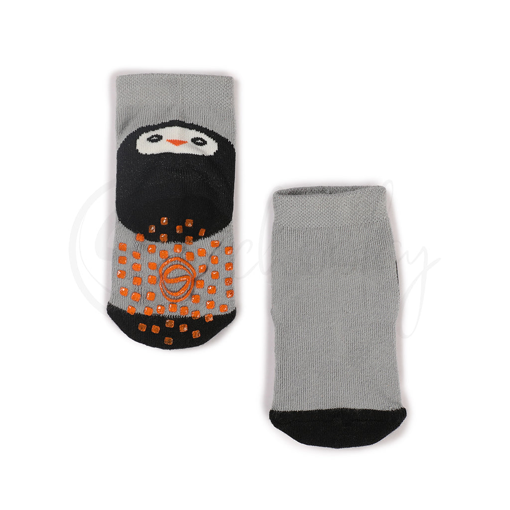 Anti Skid Infant Cotton Socks + Knee Pad + Bandana Drooling Bib (Grey & Black) (0-2 Years)