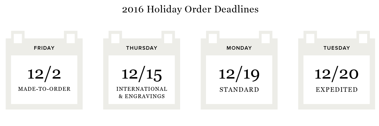 Vrai & Oro Holiday Shipping Deadlines