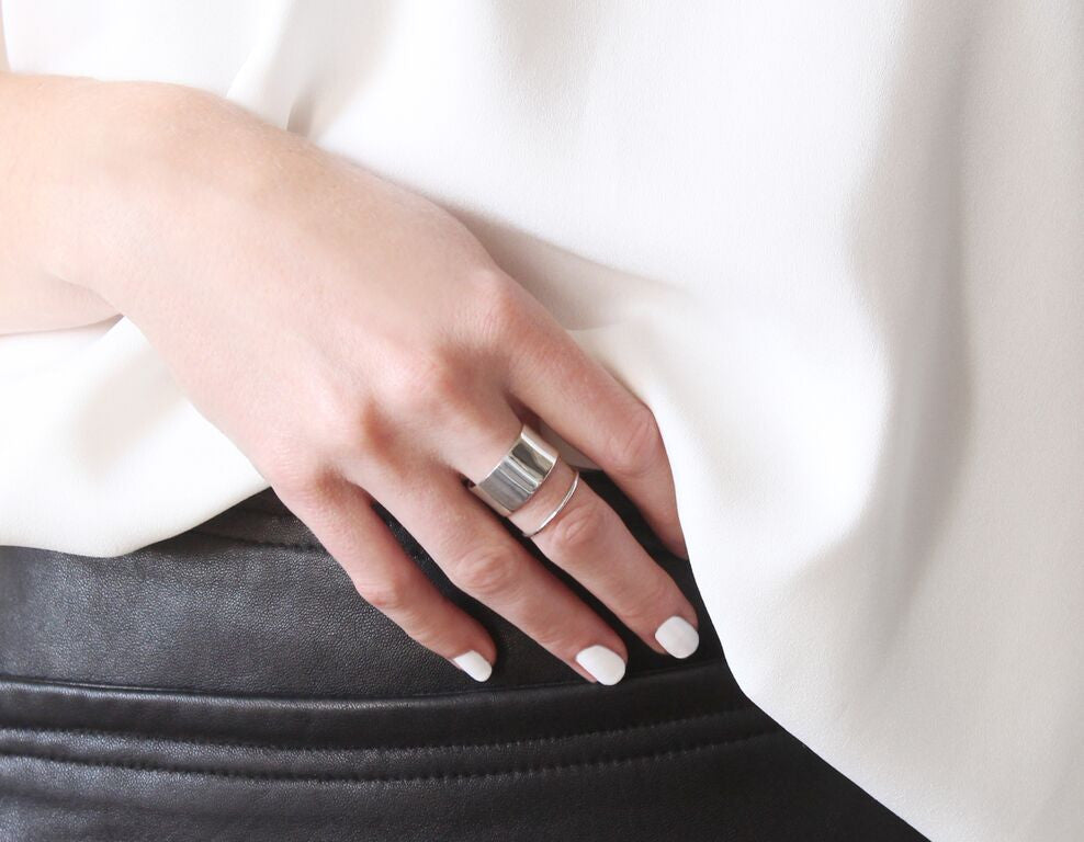 stacking rings in silver