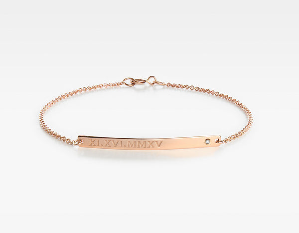 14k Rose Gold Personalized Bar Bracelet with Diamond