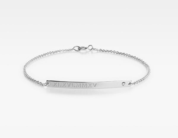 14k White Gold Personalized Bar Bracelet with Diamond