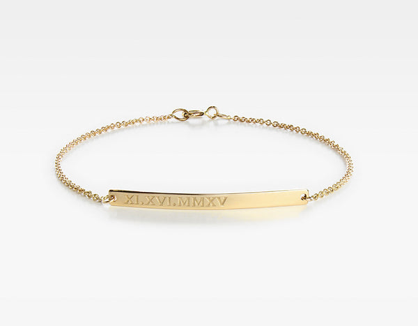 Yellow Gold Personalized Bar Bracelet
