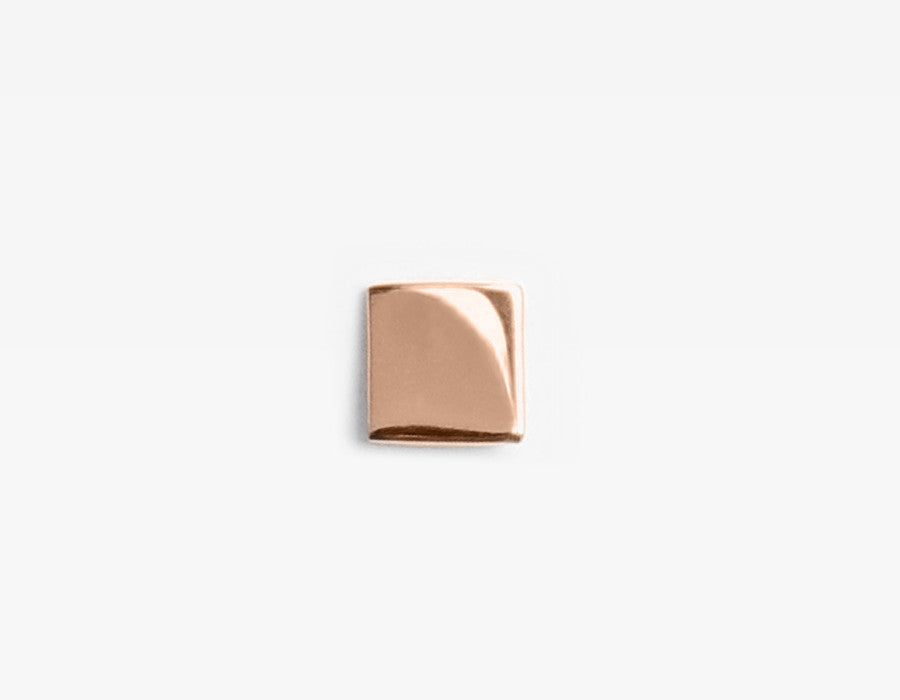 14k Rose Gold Small Square Stud Earring