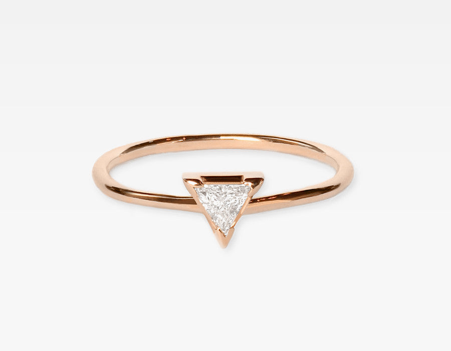Trillion Diamond Ring 14k Rose Gold