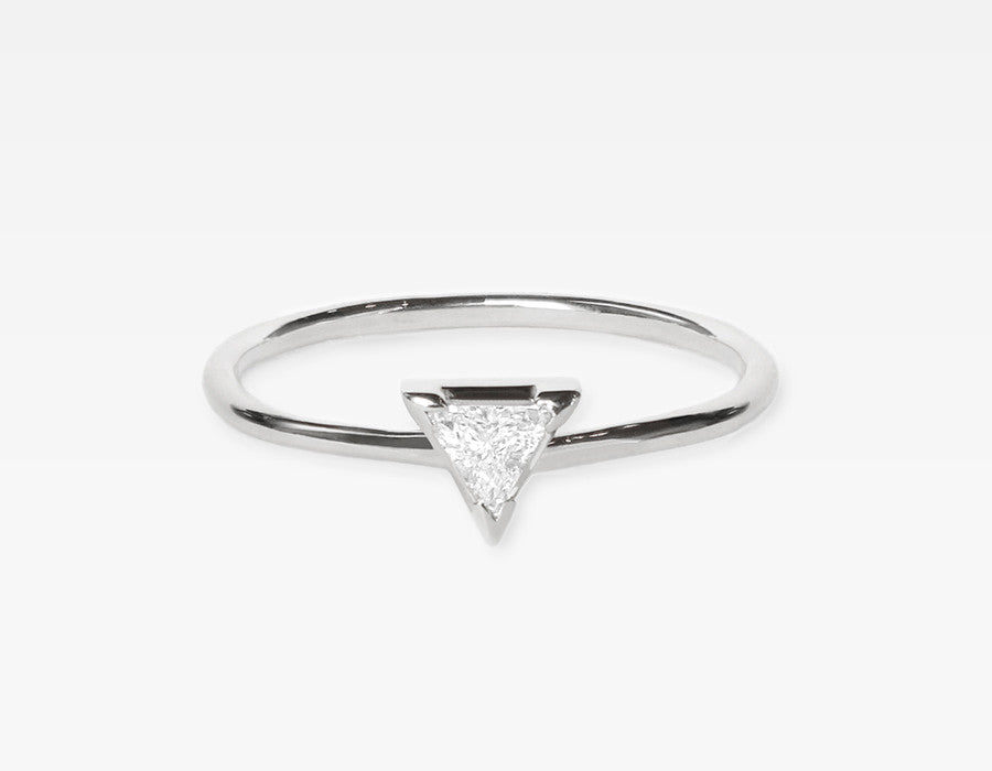 Trillion Diamond Ring 14k White Gold