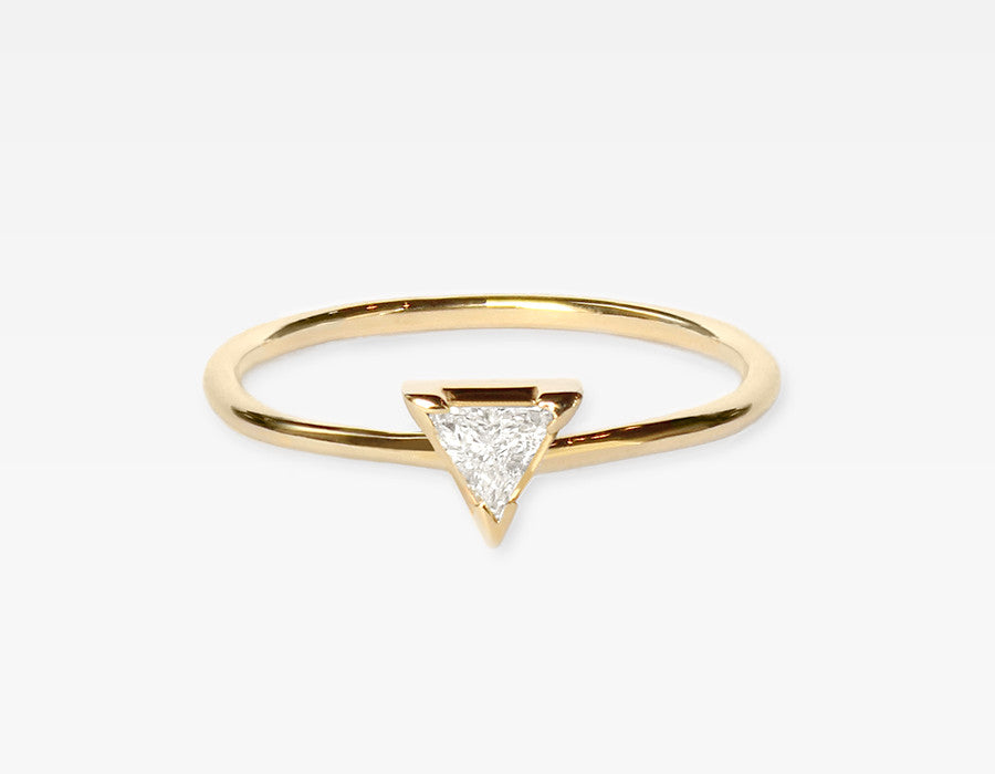 Trillion Diamond Ring 14k Yellow Gold