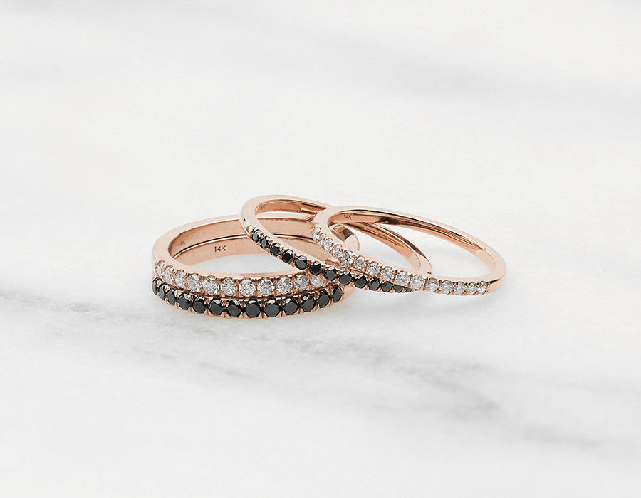 Dainty Diamond Stacking Rings in Rose Gold