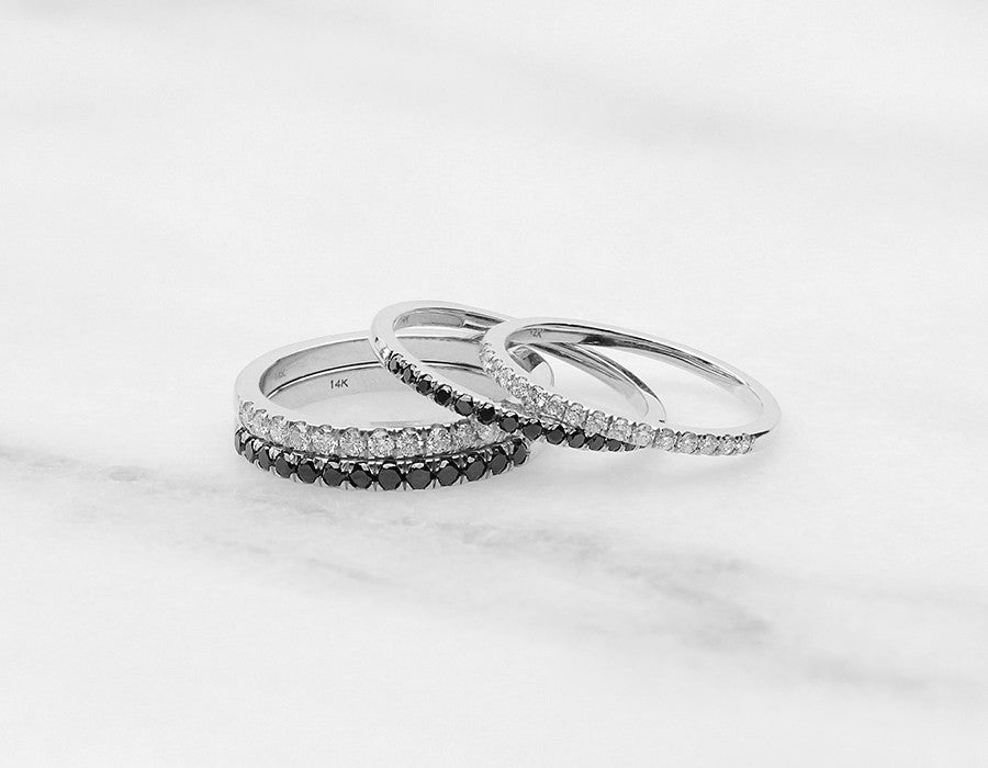 Dainty Diamond Stacking Rings in White Gold