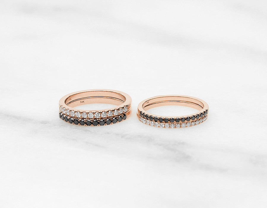 Unique Tiny Diamond Stacking Rings in Rose Gold