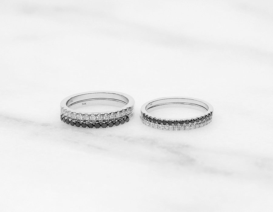 Unique Tiny Diamond Stacking Rings in White Gold