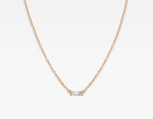 Minimalist 14k Rose Gold Baguette Diamond Necklace