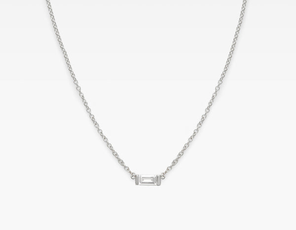 Minimalist 14k White Gold Baguette Diamond Necklace