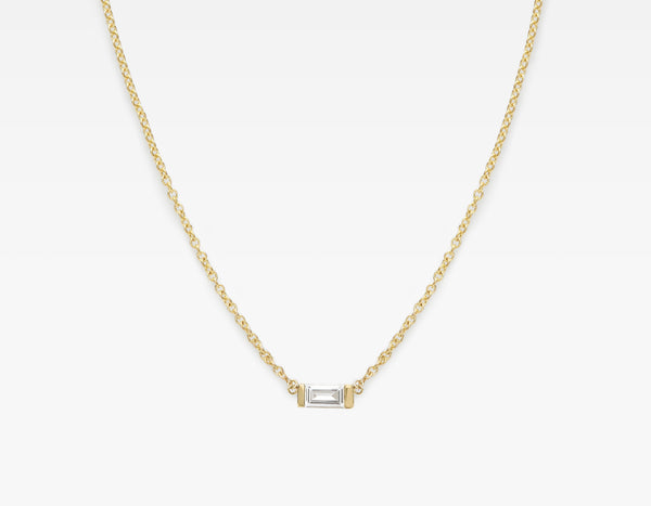 14k Yellow Gold Baguette Diamond Necklace