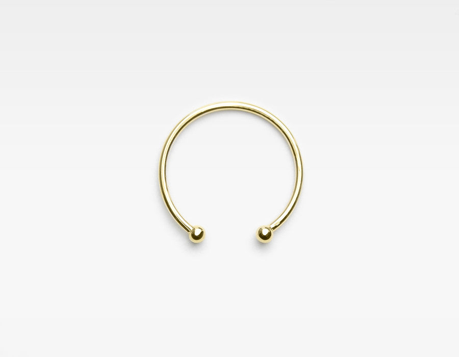 Gold Barbell cuff ring