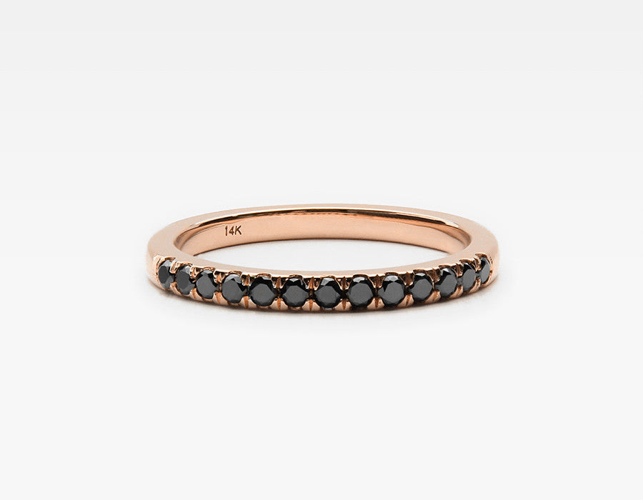 Black Diamond Eternity Band in Rose Gold