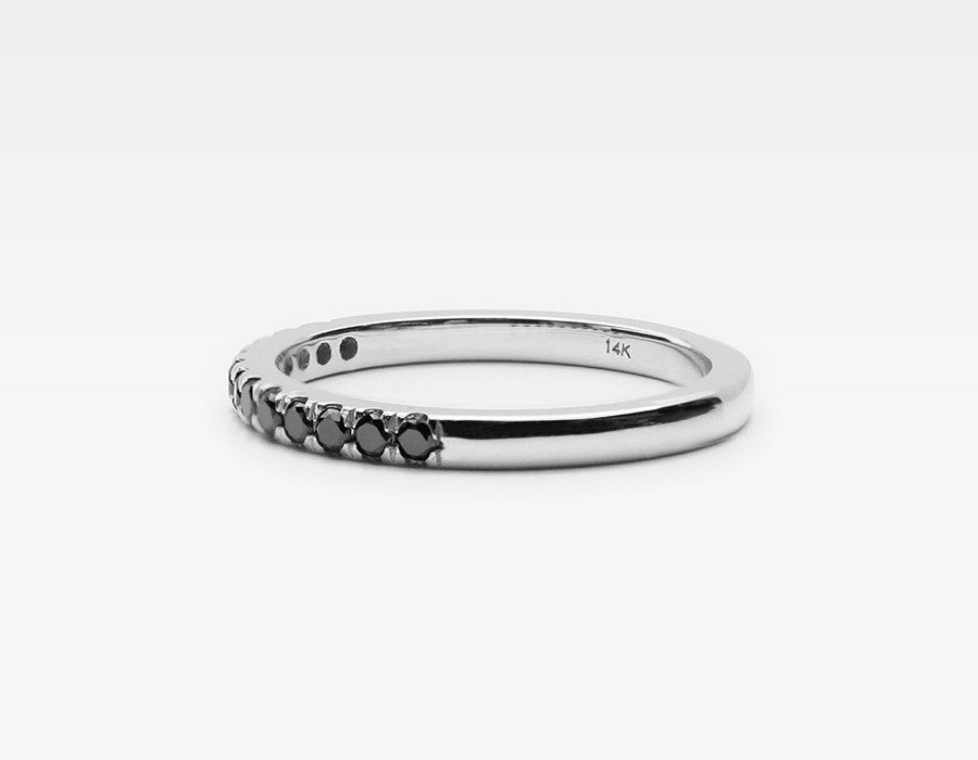 Edgy Black Diamond Wedding Band