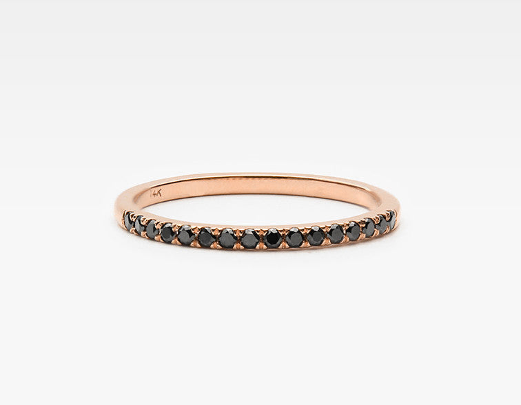 Delicate Black Diamond Eternity Band in Rose Gold