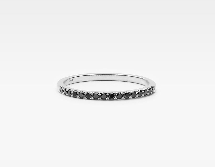 Edgy Black Diamond Eternity Ring in White Gold