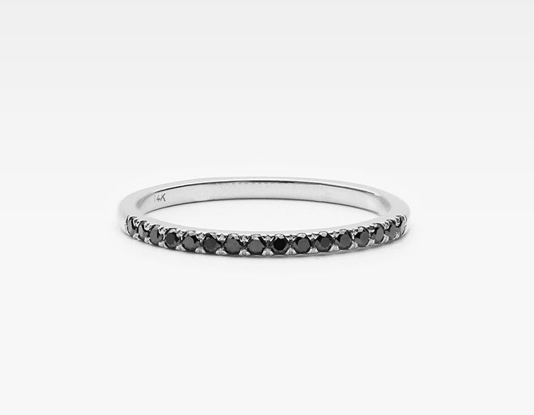 Delicate Black Diamond Eternity Band in White Gold