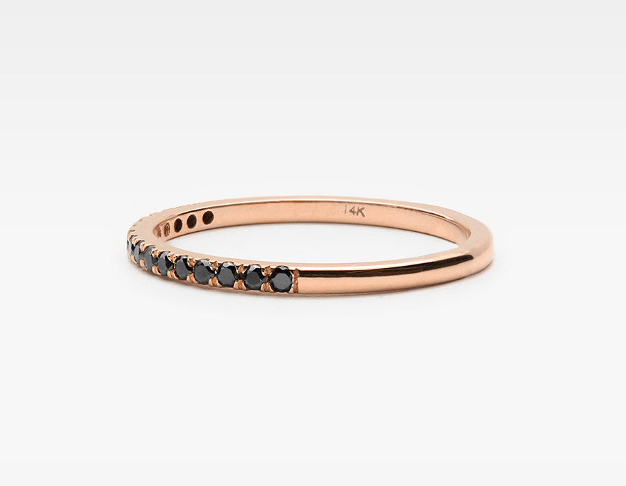 Dainty Black Diamond Wedding Band in Rose Gold