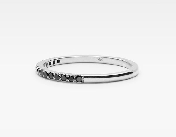 Dainty Black Diamond Wedding Band in White Gold