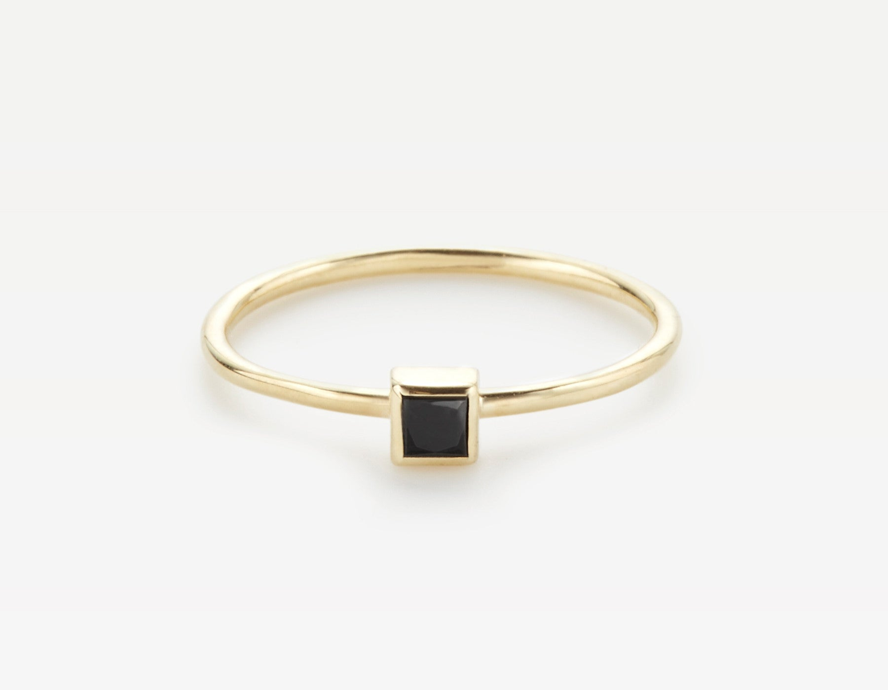 Black Square Diamond Ring 14k Yellow Gold