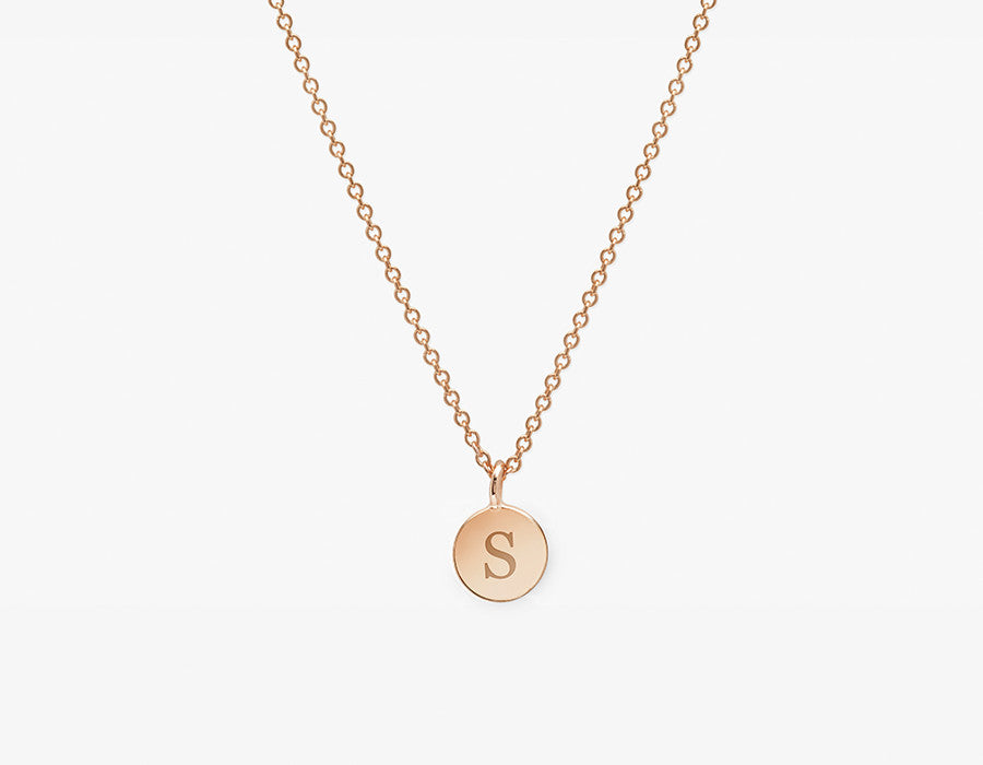 Rose Gold Dainty Necklace with Initial