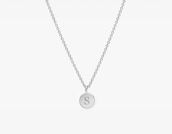 White Gold Dainty Necklace with Initial