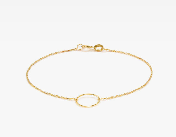 Dainty 14k Yellow Gold Circle Bracelet