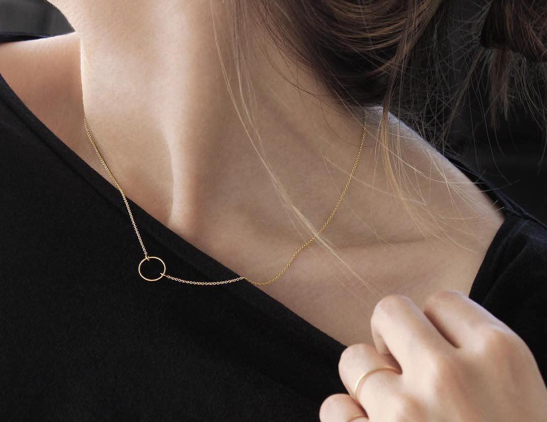 Minimal Yellow Gold Circle Necklace