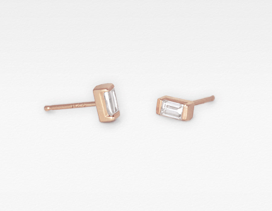 Rose Gold Baguette Diamond Earrings