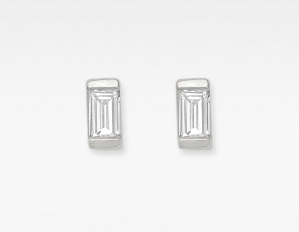 White Gold Baguette Diamond Earrings