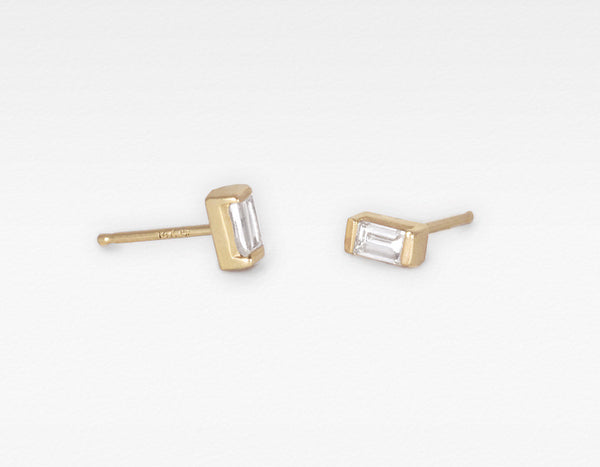 Unique 14k Yellow Gold Baguette Diamond Earrings