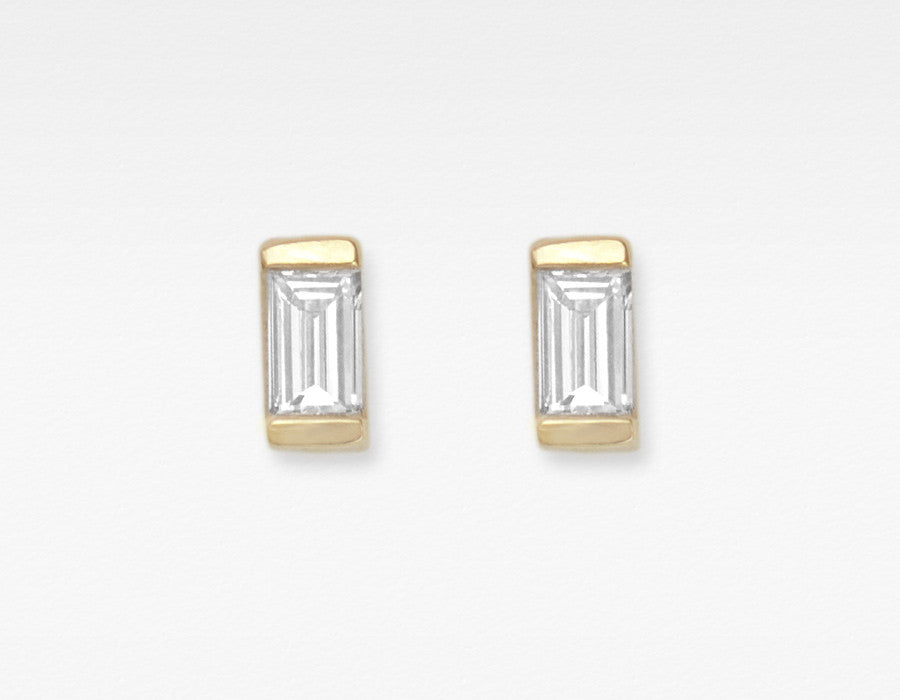 Dainty 14k Yellow Gold Baguette Diamond Earrings