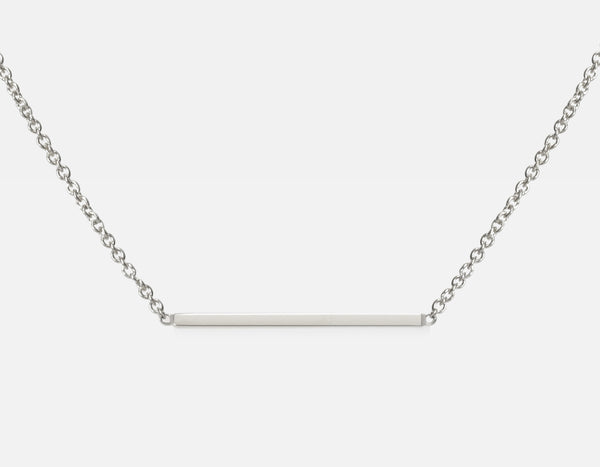 Dainty 18k White Gold Line Necklace
