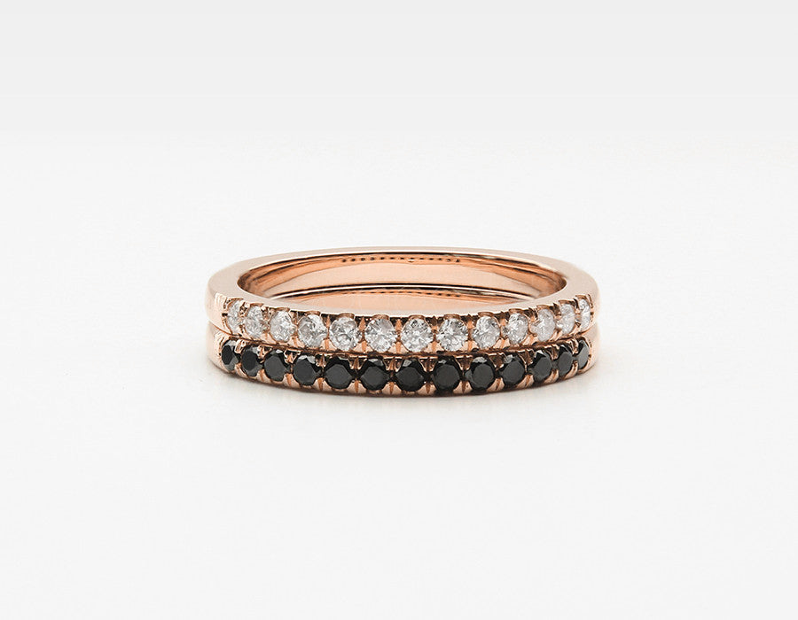 Large Diamond Eternity Band Pair in Rose Gold