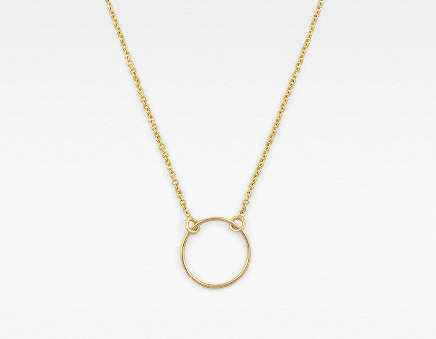 Delicate Yellow Gold Circle Necklace