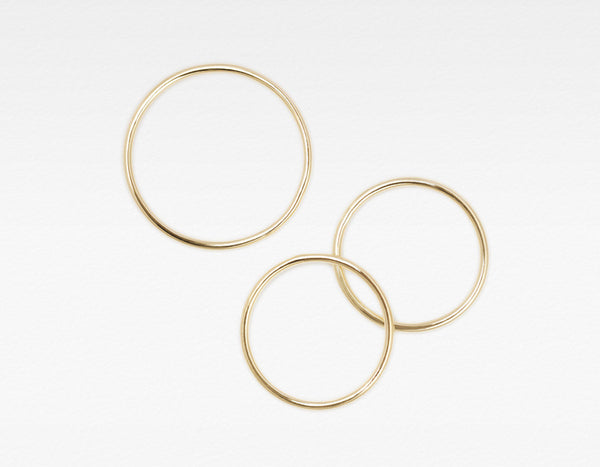 Yellow Gold Skinny Stacking Ring - Set of Three