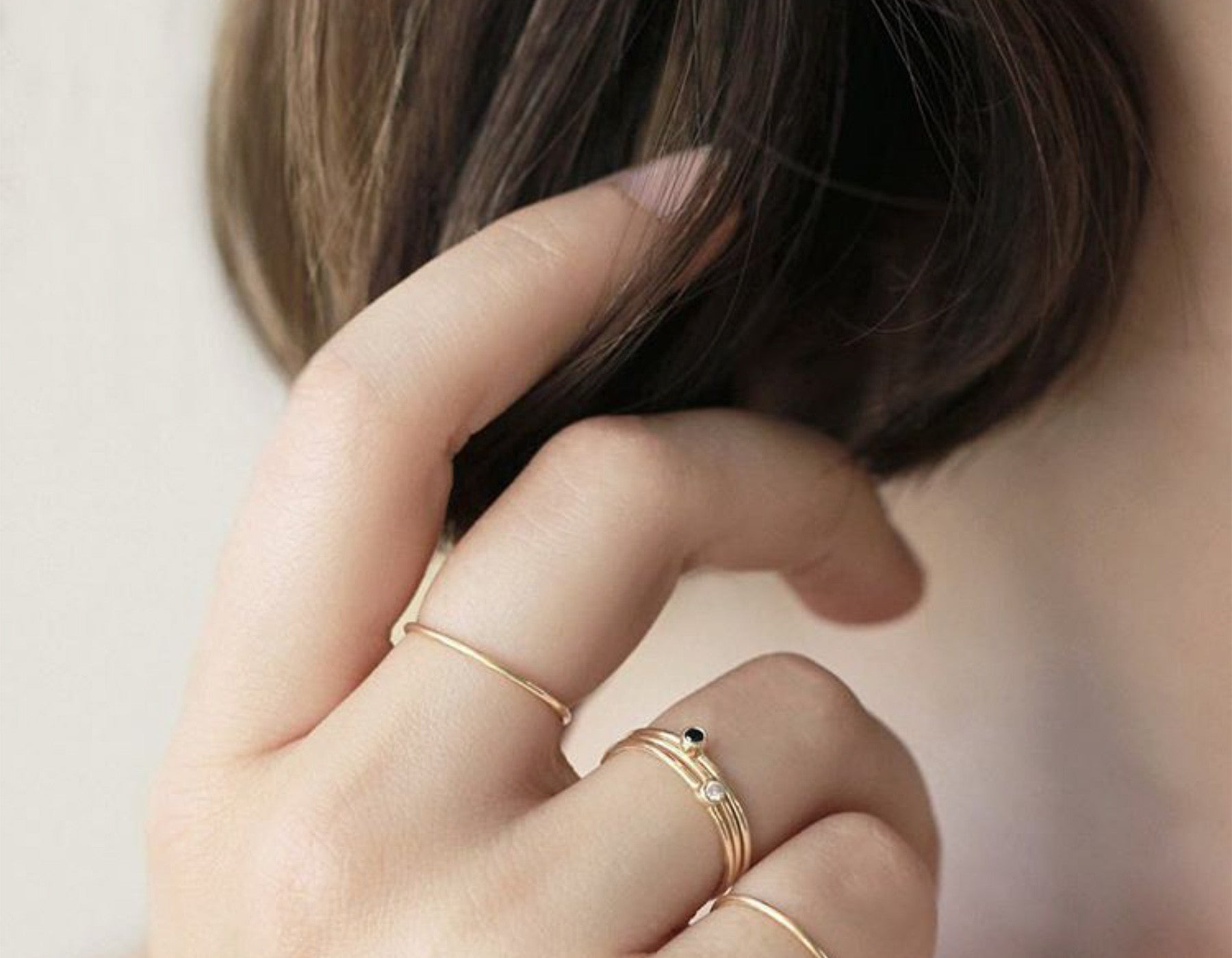 Minimalist Black Diamond Stacking Rings