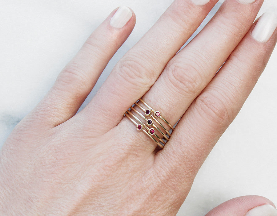 Tiny Ruby Stacking Rings